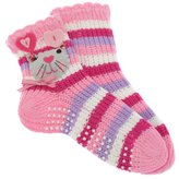 Universal Textiles Girls Patterned Slipper Socks with Grippers (1 Pair)