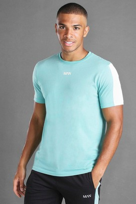 boohoo Mens Blue MAN Short Sleeve T-Shirt With Sleeve Panel, Blue