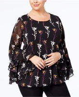 Alfani Plus Size Printed Ruffled Bell-Sleeve Top, Created for Macy's