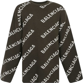 Balenciaga All-over Logo Oversized Sweater