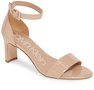 Calvin Klein Carrie Patent Ankle Strap Sandal