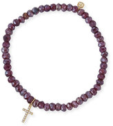 Sydney Evan Mystic Rhodolite Garnet Beaded Bracelet with Diamond Cross Charm