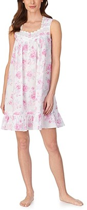 Eileen West Cotton Lawn Woven Sleeveless Short Chemise (White Ground Rose Floral) Women's Pajama