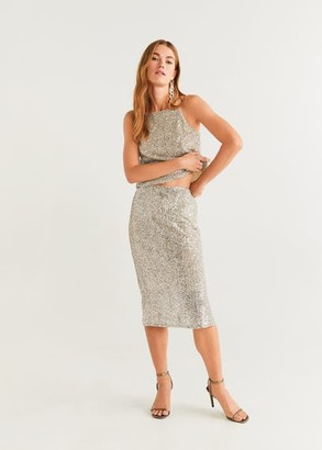 MANGO Sequin midi skirt