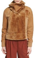 Tibi Shearling Aviator Jacket, Brown