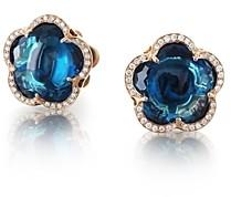 Pasquale Bruni 18K Rose Gold Bon Ton London Blue Topaz & Diamond Stud Earrings