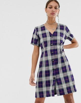 Résumé Resume Odessa button down check mini dress