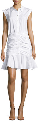 Veronica Beard Bell Sleeveless Ruched Stretch Poplin Dress, White