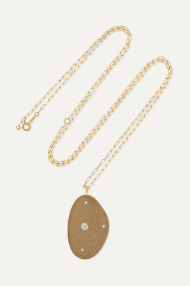 Cvc Stones Trophy 18-karat Gold, Stone And Diamond Necklace