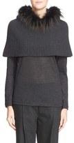 Fabiana Filippi Genuine Fox Fur & Wool Blend Hooded Snood