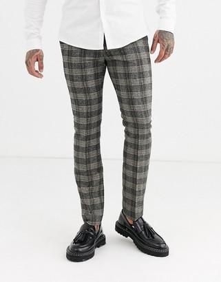 Topman skinny smart trousers in grey herringbone-Multi