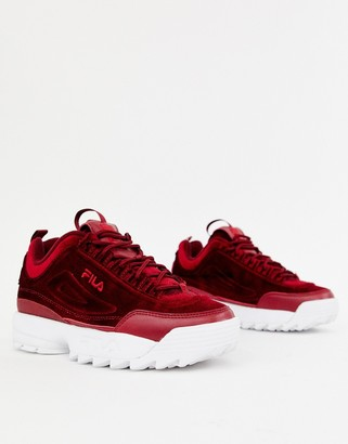 Fila Burgundy Disruptor Ii Premium Velour Sneakers