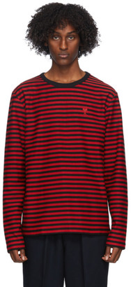 Ami Alexandre Mattiussi Black and Red Striped Long Sleeve T-Shirt