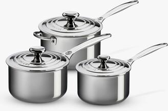 Le Creuset Signature 3-Ply Stainless Steel Saucepan & Lid Set, 3 Piece