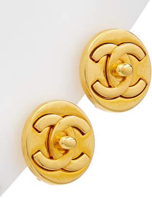 Chanel Gold-Tone Round Cc Medium Clip-On Studs