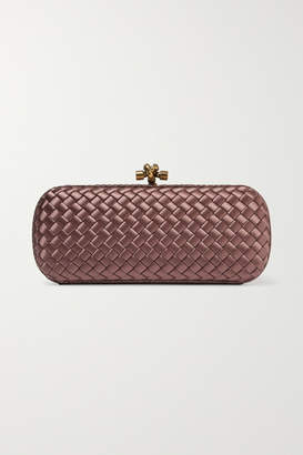 Bottega Veneta Long Knot Watersnake-trimmed Intrecciato Satin Clutch - Purple