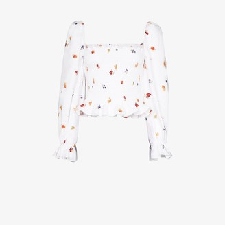 Reformation Ruched fruit and floral print linen top
