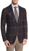 Isaia Exploded Windowpane Two-Button Sport Coat, Brown