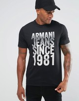 Armani Jeans T-Shirt With 1981 Cityscape Print In Black