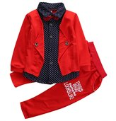 honeys 2pcs Toddler Baby Boys Kids Long Tops+Long Pants Gentleman Outfits (3-4T, )