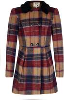 Yumi Checked Coat with Faux Fur Collar