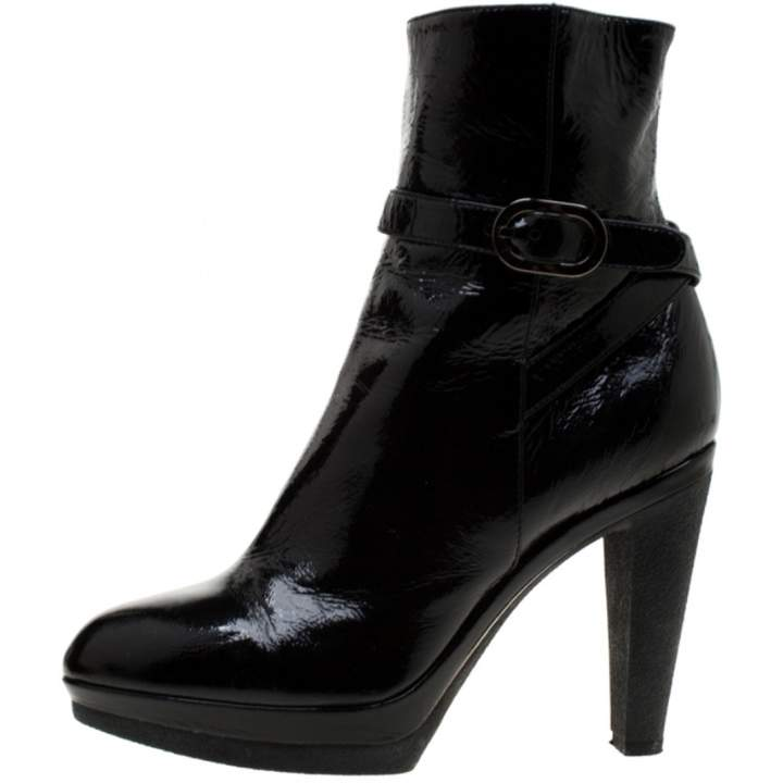 9a9647359434a Black Patent Leather Ankle Boots - ShopStyle