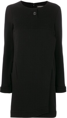Chanel Pre Owned Ribbed Detail Boxy Dress
