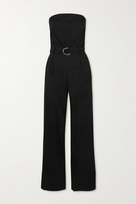 Frame Strapless Belted Linen-blend Jumpsuit - Black