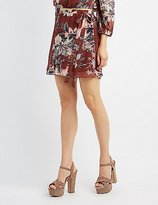 Charlotte Russe Floral Wrap Skater Skirt