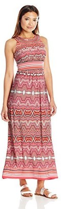 Sandra Darren Women's Petite 1 Pc Sleeveless Printed Ity Maxi Dress