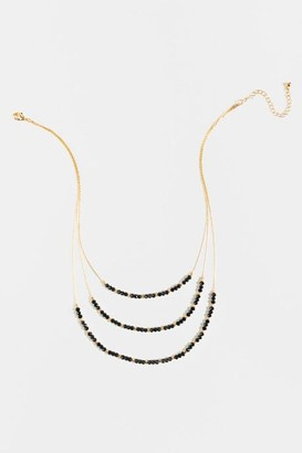 francesca's Eloise Beaded Layered Necklace - Black