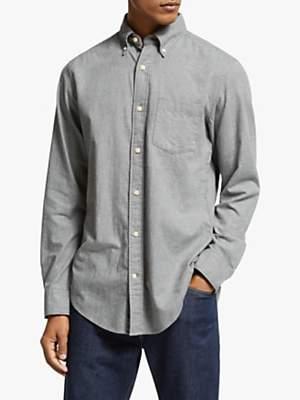 John Lewis & Partners Brushed Cotton Houndstooth Regular Fit Shirt