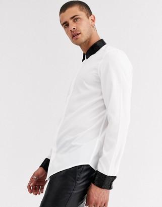 Asos Design DESIGN regular fit satin shirt with beaded collar & cuff-White