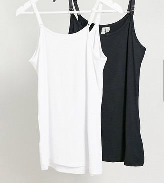 ASOS DESIGN Maternity nursing cami with clips 2 pack black and white