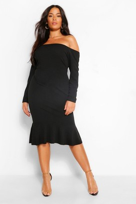 boohoo Plus Off The Shoulder Ruffle Hem Midi Dress