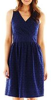 Robbie Bee Surplice Lace Fit-and-Flare Dress