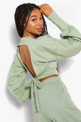 boohoo Puff Sleeve Tie Back Sweater