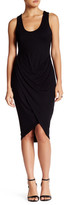 Astr Ruched Knit Wrap Bodycon Dress