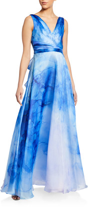 Marchesa Watercolor Printed Organza Gown with Draped Bodice