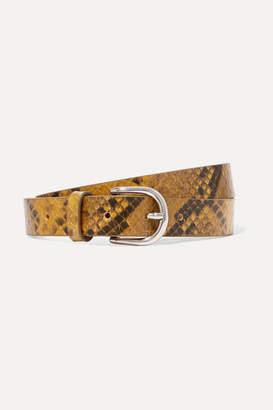 Isabel Marant Zap Snake-effect Textured-leather Belt - Yellow