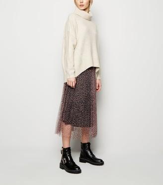New Look Leopard Print Mesh Pleated Midi Skirt