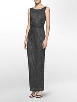 Calvin Klein Glitter Ruched Twist Gown