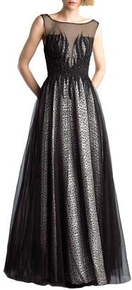 Basix II Sleeveless Boat-Neck Beaded-Bodice Tulle Overlay Illusion Gown