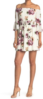 Bailey Blue Floral Off-the-Shoulder Lace-Up Mini Dress