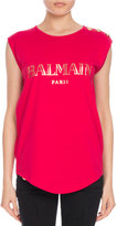 Balmain Button-Shoulder Logo Muscle Tee, Pink