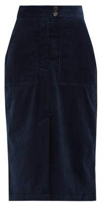 Bella Freud Cotton-corduroy Midi Skirt - Navy