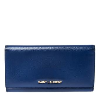 Saint Laurent Paris Blue Leather Marquage Continental Flap Wallet