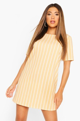 boohoo Pastel Short Sleeve Stripe Shift Dress