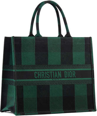 Christian Dior Book Tote Check Leaf Green/Black