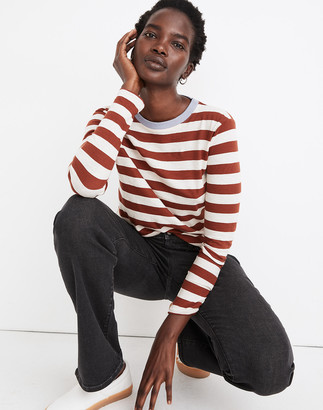 Madewell Whisper Cotton Rib-Crewneck Long-Sleeve Tee in Canarsie Stripe